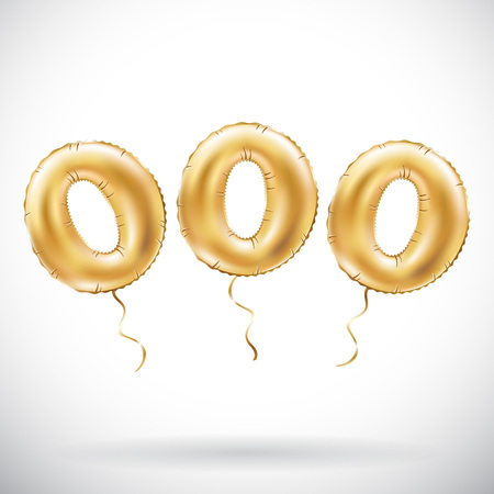 vector Golden number 000 Three zeros metallic balloon. Party decoration golden balloons. Anniversary sign for happy holiday, celebration, birthday, carnival, new year. art