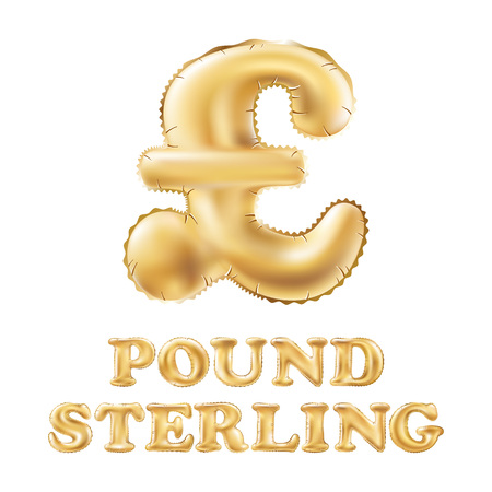 Gold alphabet balloons, pound sterling sign, Gold number and letter balloon art vector