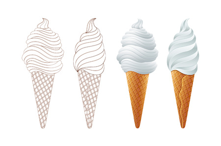 Illustration pour Different sorts of Ice Cream in a waffles isolated on white background - image libre de droit