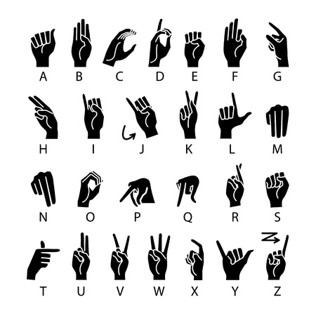 Ilustración de vector language of deaf-mutes hand. American Sign Language ASL Alphabet art - Imagen libre de derechos