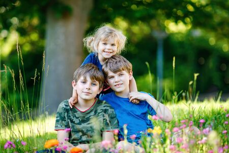 Photo for Portrait of three siblings children. Two kids brothers boys and little cute toddler sister girl having fun together on flowers meadow. Happy healthy family playing, walking, active leisure on nature - Royalty Free Image