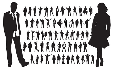 Large collection of people silhouettes