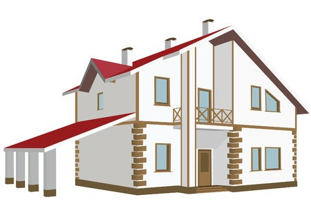 Cottage (Detailed). Vector illustration