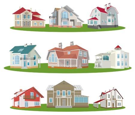 Cottages. Set. Vector illustration