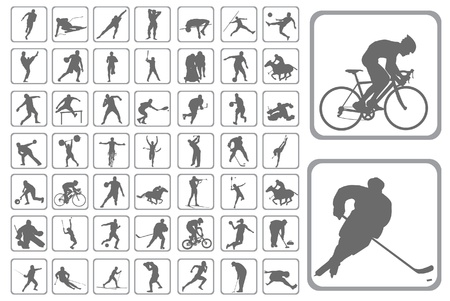 The Silhouettes athlete. Set of the buttons on web-design