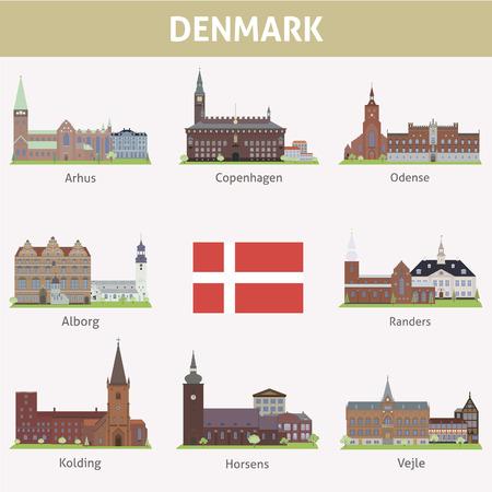 Denmark  Symbols of cities  Vector set