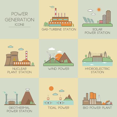 Illustration pour Power generation. Set icons - image libre de droit
