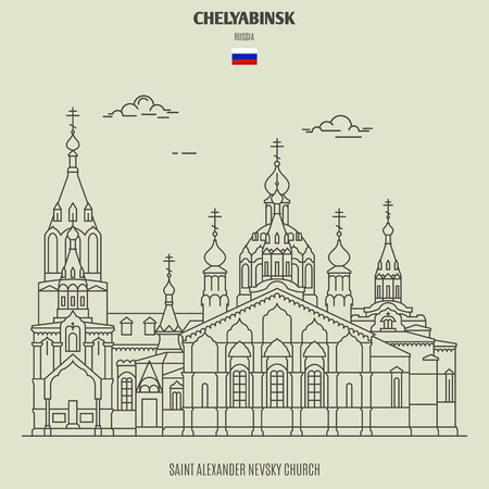 Saint Alexander Nevsky Church in Chelyabinsk, Russia. Landmark icon in linear style
