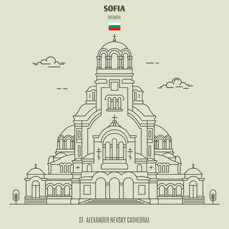St. Alexander Nevsky Cathedral in Sofia, Bulgaria. Landmark icon in linear style