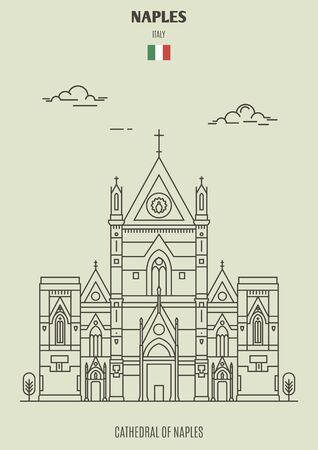 Illustration pour Cathedral of Naples (San Gennaro), Italy. Landmark icon in linear style - image libre de droit