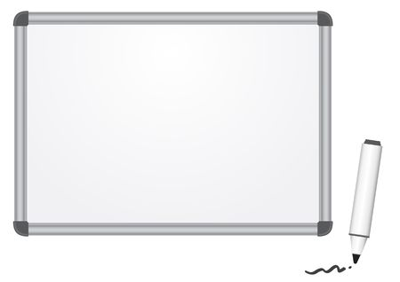 The magnetic white marker board isolated on the white background