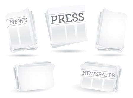 Set of newspapers isolated on the white background
