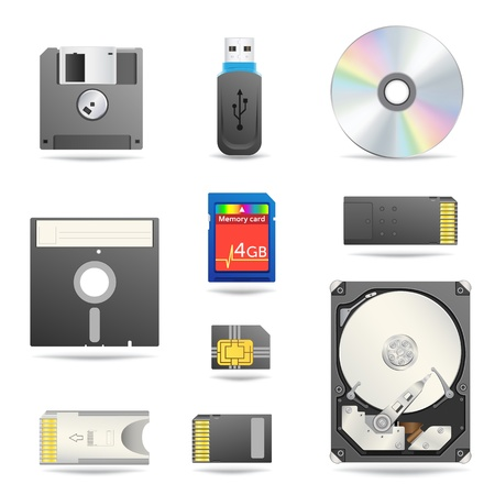 Digital data devices icon set