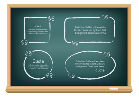 Illustration pour Templates for writing quotes. Round, square, oval, rectangular forms drawn with chalk on education blackboard on a white background. - image libre de droit