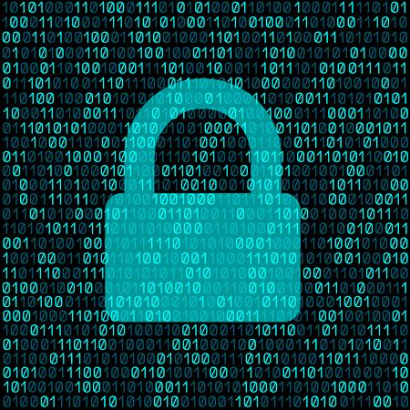 Illustration pour Closed transparent lock on blue cyber digital code background. - image libre de droit