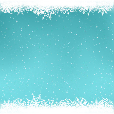 Illustration for Snowy azure color winter template. Snowfall on blue background. Frosty close-up wintry snowflakes. Ice shape pattern. Christmas holiday decoration easy to edit backdrop - Royalty Free Image