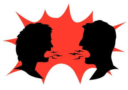 Illustration pour man and woman shouting at each other - image libre de droit