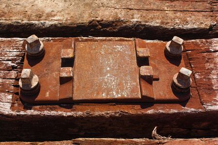 rusty old wooden railroad dormant