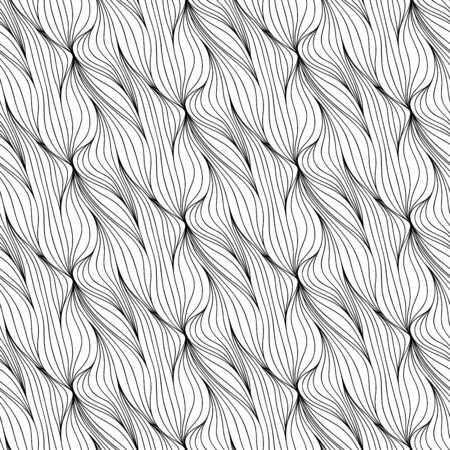 Illustration pour Abstract vector seamless floral background of doodle hand drawn lines. Monochrome wave pattern. Coloring book page. Black white wallpaper. - image libre de droit