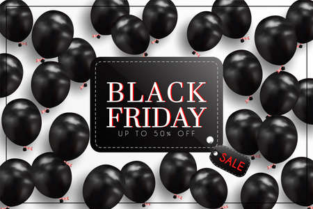 Illustration for Black Friday Sale of posters or flyers design with balloons. and use it as a festival background or online shopping invitation. - Royalty Free Image