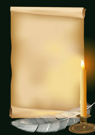 illustration with candle,feather and old paper