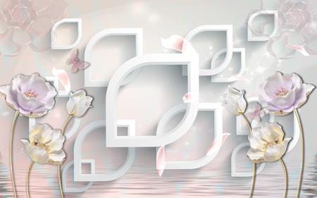 Foto de 3d abstraction background wallpaper for walls. - Imagen libre de derechos
