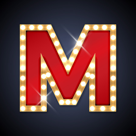 illustration of realistic retro signboard letter M.