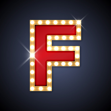 illustration of realistic retro signboard letter F.