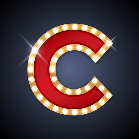 illustration of realistic retro signboard letter C.