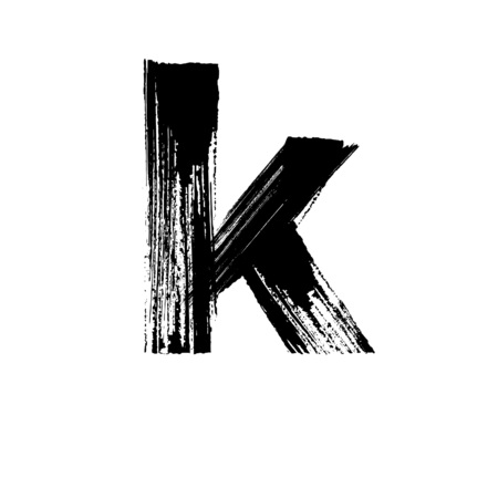 Lowercase vector letter k hand-drawn with dry brush