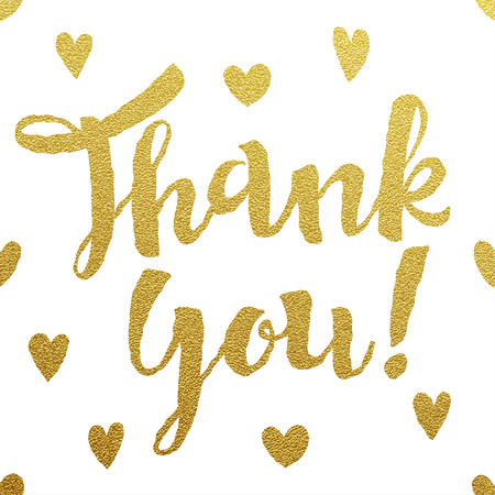 Thank You card with design of gold letters on white background