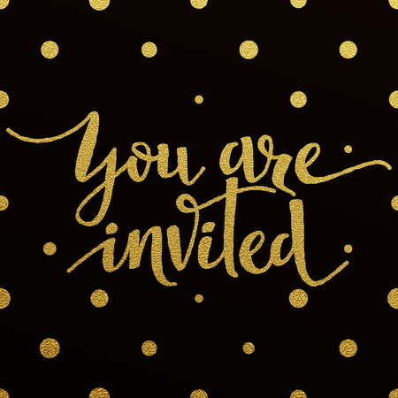 Illustration pour You Are Invited card with design of gold letters on black background - image libre de droit