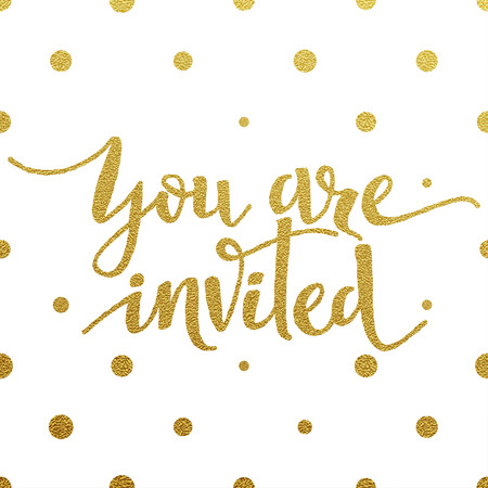 You Are Invited card with design of gold letters on white background