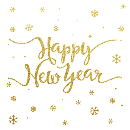 Happy New Year card with design of gold letters on white background