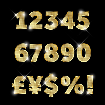 Gold glittering metal alphabet set of numbers and currency signs.