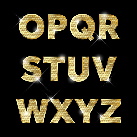 Gold glittering metal alphabet set from O to Z uppercase.