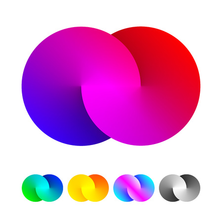 Illustration for Vector origami infinity circle icon. Colorful spectrum loop shape design icons. - Royalty Free Image