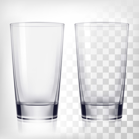 Empty drinking glass cups. Transparent glass on transparent background