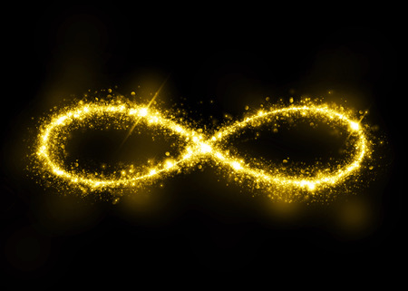 Gold glittering star dust infinity loop. Twinkling ellipse.