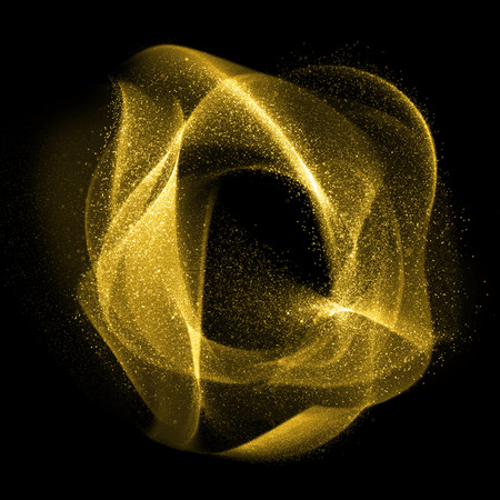 Foto de Abstract gold glittering wavy gas fractals of star dust - Imagen libre de derechos