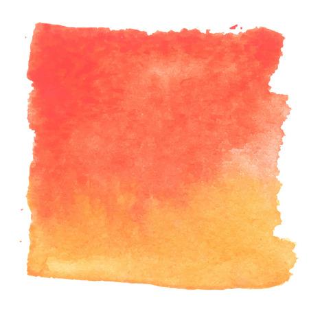Ilustración de Red orange watercolour abstract square painting. Hand painted aquarelle art. - Imagen libre de derechos