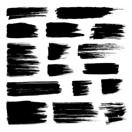 Ilustración de Set of vector brush strokes. Black brush hand painting on white background. - Imagen libre de derechos
