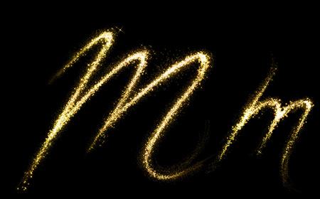 M letter of gold glittering stars dust flourish tail. Glittering font concept