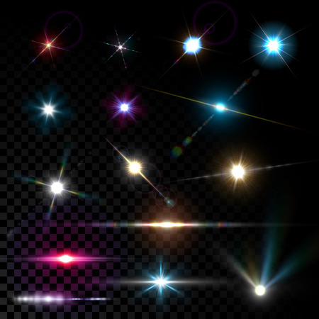 Realistic vector glowing lens flare light effect with stars and sparkles bursts on transparent background.
