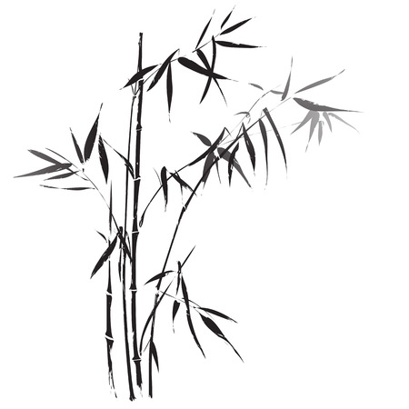 Bamboo branches outlined in traditional asian black and white style
