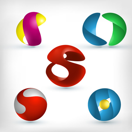 Abstract 3d curled and wavy sphere shape icons set