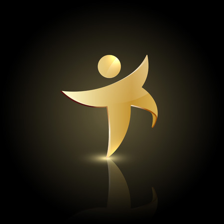 Golden man shape in motion icon. Happy or dancing symbol