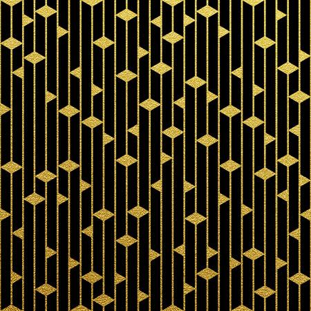 Illustration pour Geometric gold glittering seamless pattern on black background. - image libre de droit
