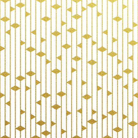 Ilustración de Geometric gold glittering seamless pattern on white background. - Imagen libre de derechos