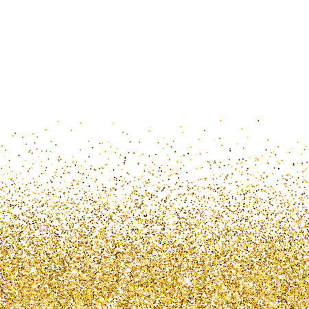 Vector gold glittering abstract particles on white background
